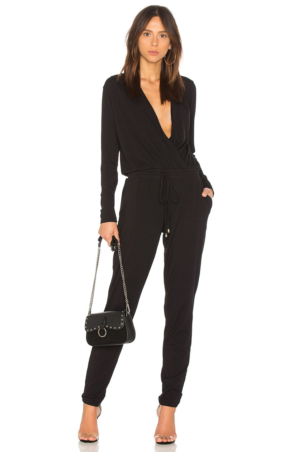 42b28d50346 Bobi Drape Modal Jumpsuit in Black