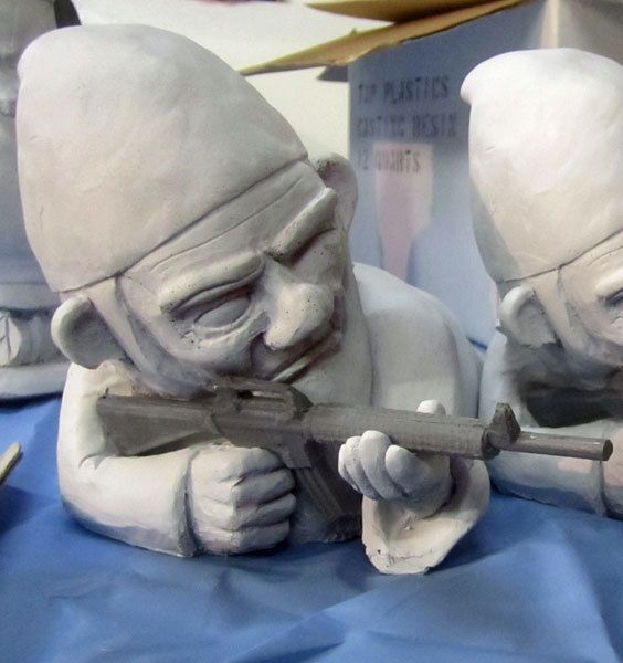 Combat Garden Gnomes: UNPAINTED Combat Garden Gnome (in Prone Position With M-16