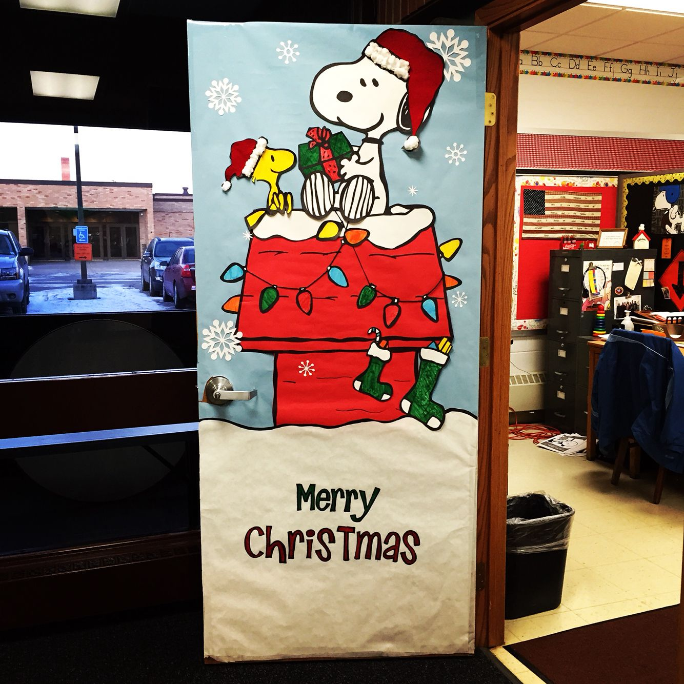 christmas door decorating love snoopy christmas