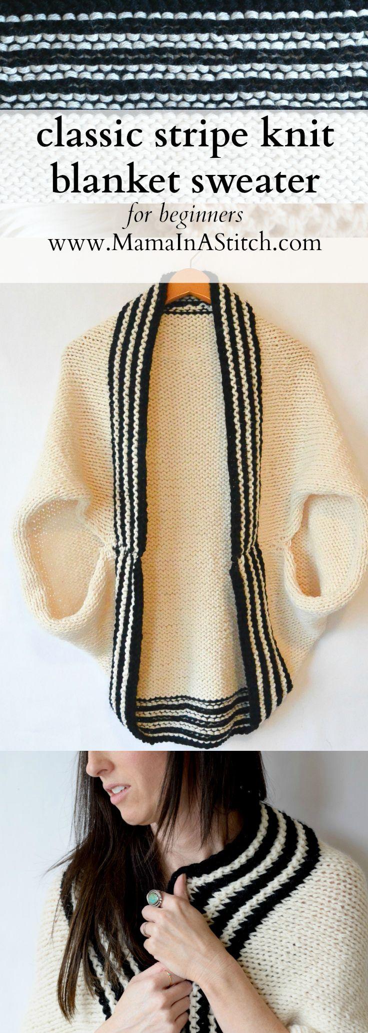 04ea9e7a85c4fe Classic Stripe Easy Knit Sweater (Blanket Sweater) via  MamaInAStitch Free  Knitting Patterns Sweaters