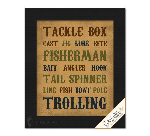 Printable fishing themed fisherman man cave tackle box for Fishing decor for man cave