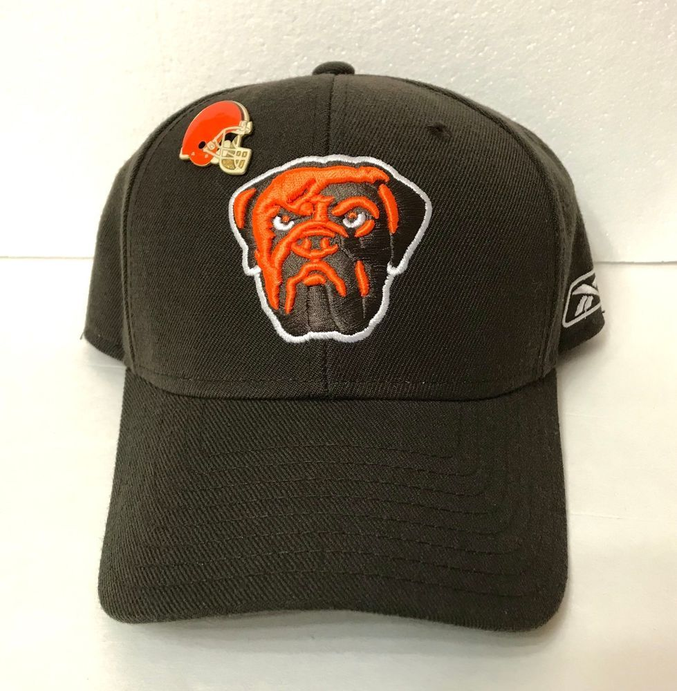 sale retailer 93338 689c8 CLEVELAND BROWNS HAT   COLLECTIBLE HELMET LAPEL PIN dog dawg pound FITTED  7-1 4  Reebok  ClevelandBrowns