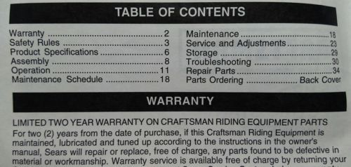 DIY  Tools Sears Craftsman Manuals