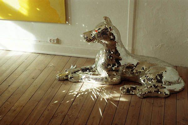 {disco dog sculpture, dappled light} film photo by Astrid Hagen, dog by Inghild Karlsen