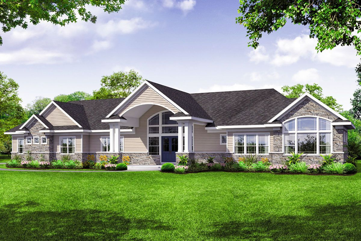 Plan 72939da Sprawling One Story House Plan With Vaulted Great Room In 2020 House Plans Story House Great Rooms