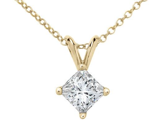 Premium quality princess cut diamond solitaire pendant necklace premium quality princess cut diamond solitaire pendant necklace carat ctw in white gold with chain certified aloadofball Images