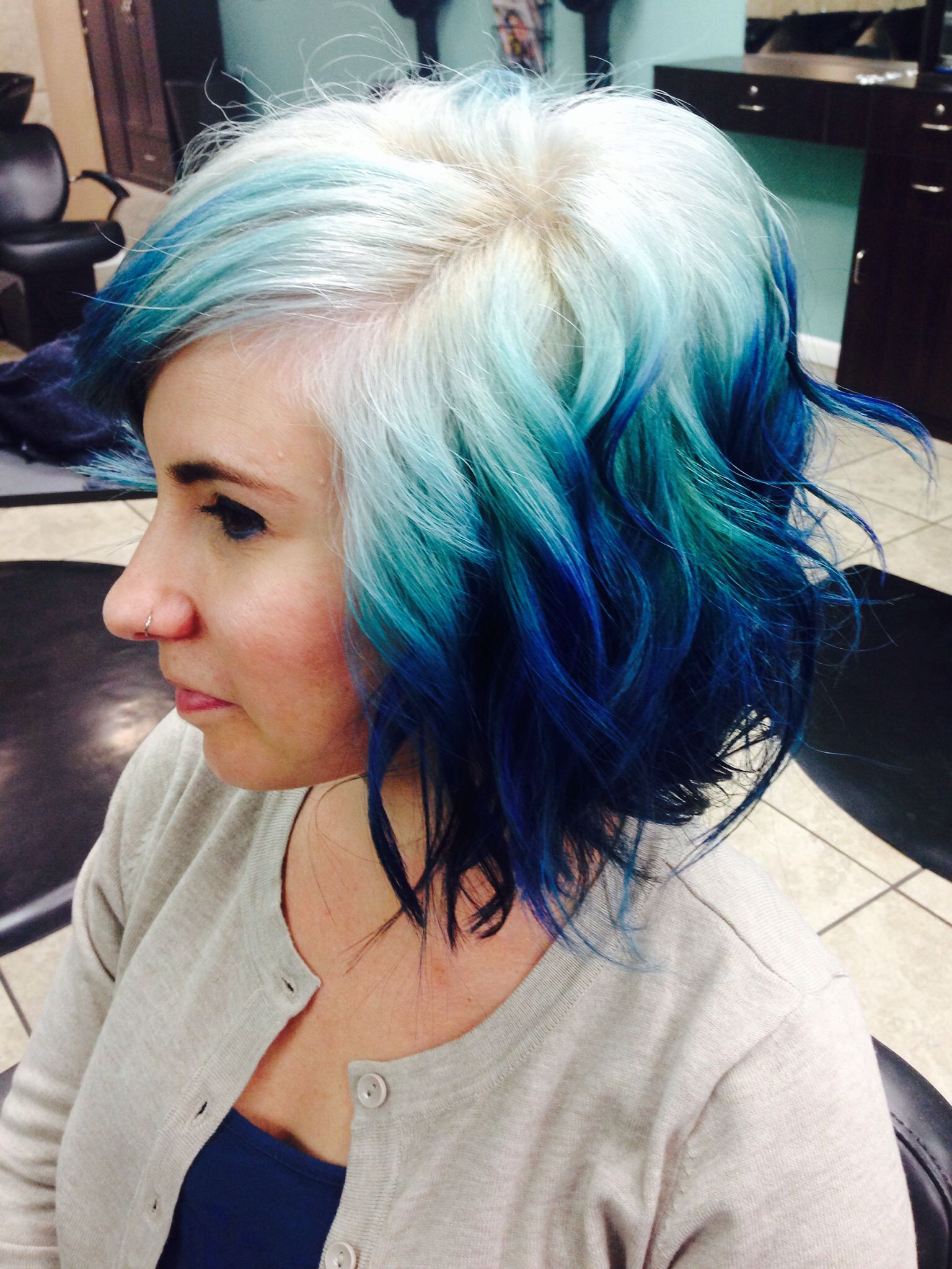 Pravana Blue Ombre On A Short Bob By Jaymi Wilson In The Bay Area California With Red Hair Ombre Hair Color Short Ombre Hair Hair Styles