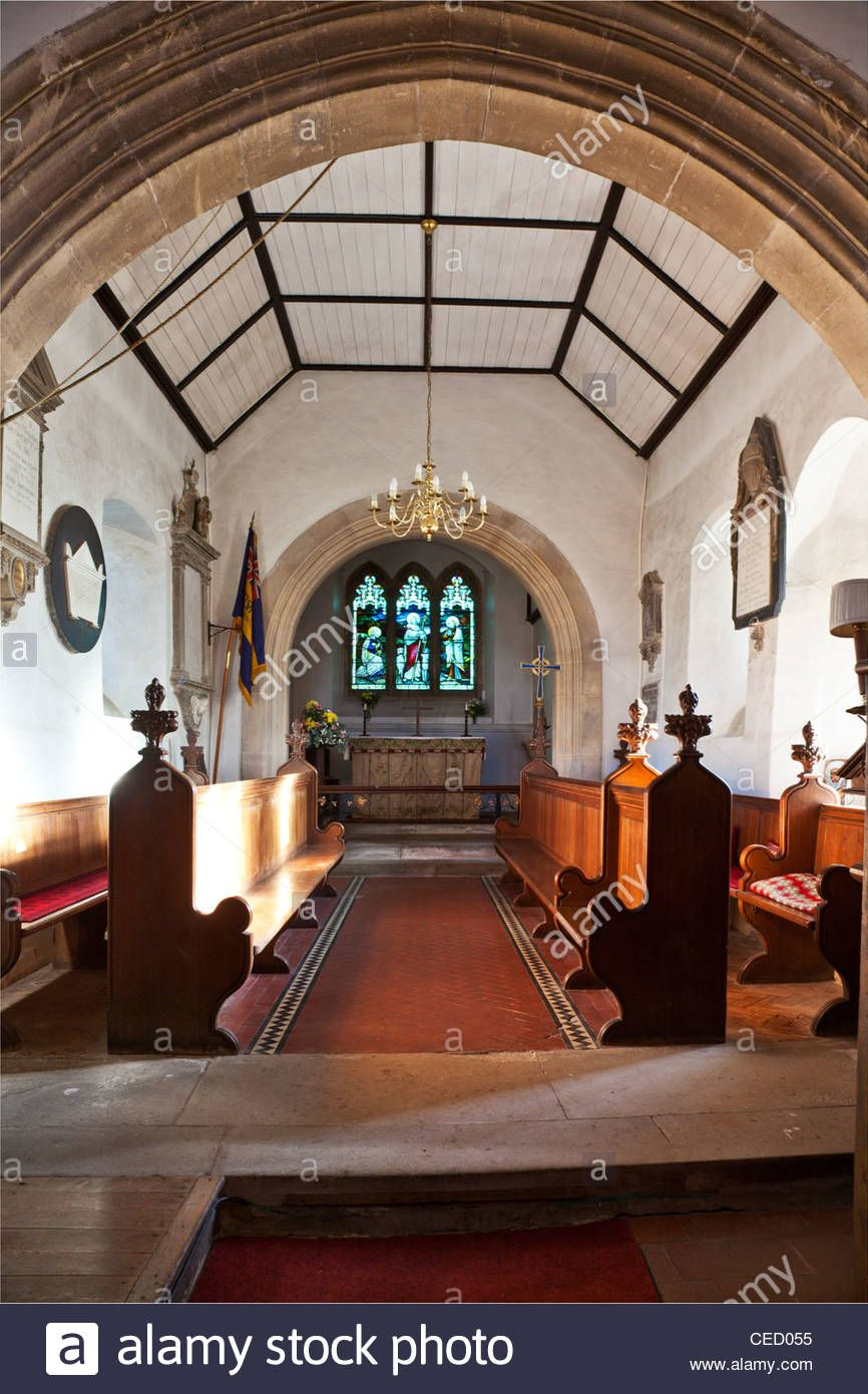 Interior Of Typical Medieval 13th Century English Country Village Church StNicholas Biddestone