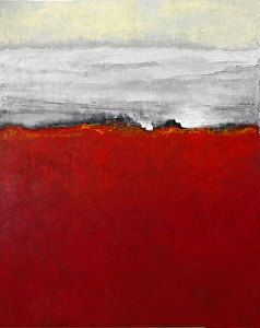 "Contemporary Abstract Landscape Painting- ""RED FIELDS""- Mixed Media by Cristina Del Sol"