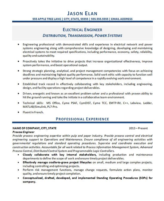 Electrical Engineer Resume Example Sample resume and Resume examples - process engineer sample resume