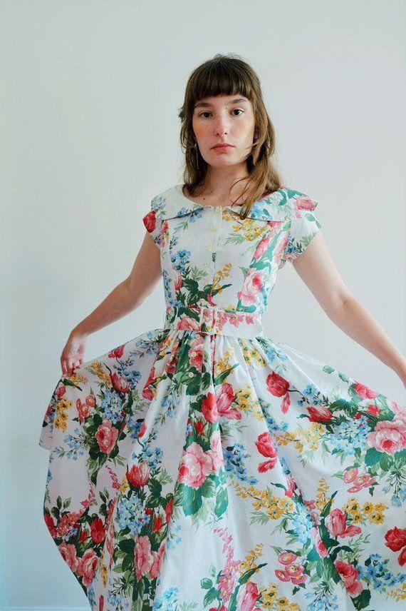 0cf7d2711fec Vintage cotton dress 1980s 80s floral white collar button down party tea  garden belt xs small medium