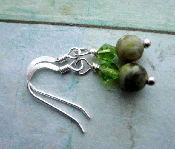 Irish Connemara marble earrings with emerald Swarovski Crystal. Forest by…