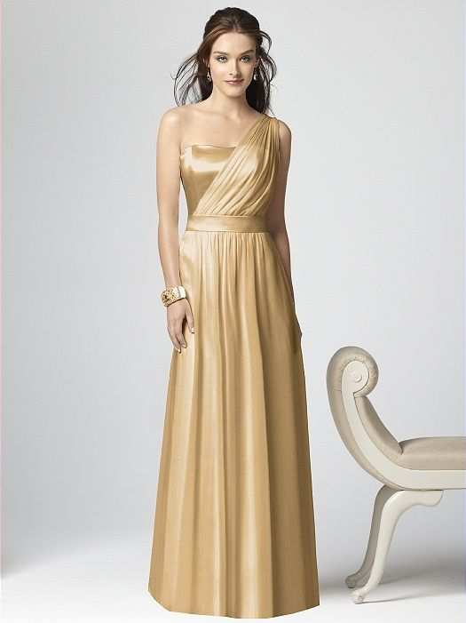 White and Gold Wedding. Bridesmaid Dress. One-shoulder Chiffon ...