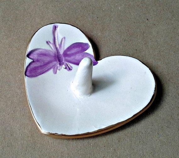 Ceramic Heart Ring Holder Bowl  dragonfly Gold Edged