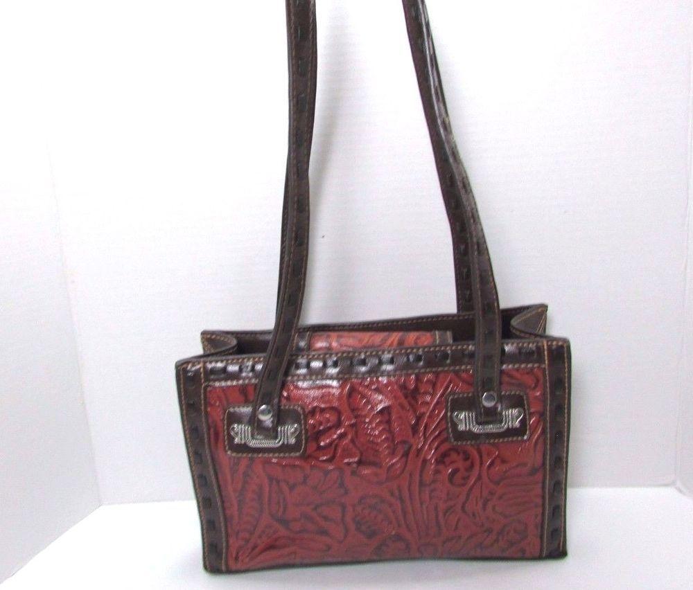 M C Marc Chantal Rust Brown Fl Embossed Handbag Purse Shoulder Bag