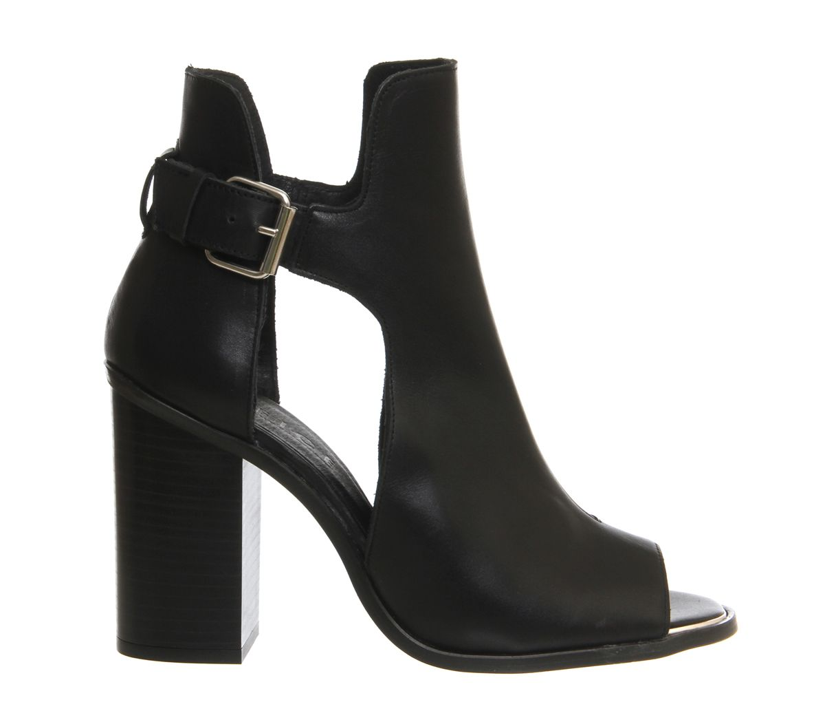 Office Frisk Cut Out Block Heel Boot Black Leather - Ankle Boots