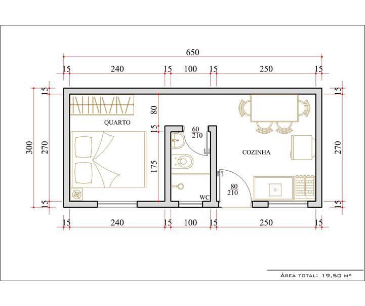 Conhecido Planta de Kitinetes 3 | plan for house | Pinterest | Casa de um  EC14