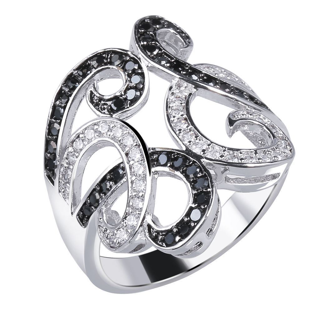 Nice Flower Ring rhodium plated Cubic zirconia black and