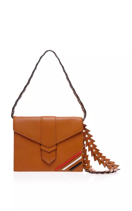 V Clutch In Caramel by Loewe for Preorder on Moda Operandi