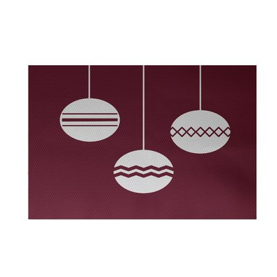 The Holiday Aisle Geo Bulbs Decorative Print Flatweave Cranberry Burgundy White Area Rug In 2020 Area Rugs Rugs Indoor Rugs