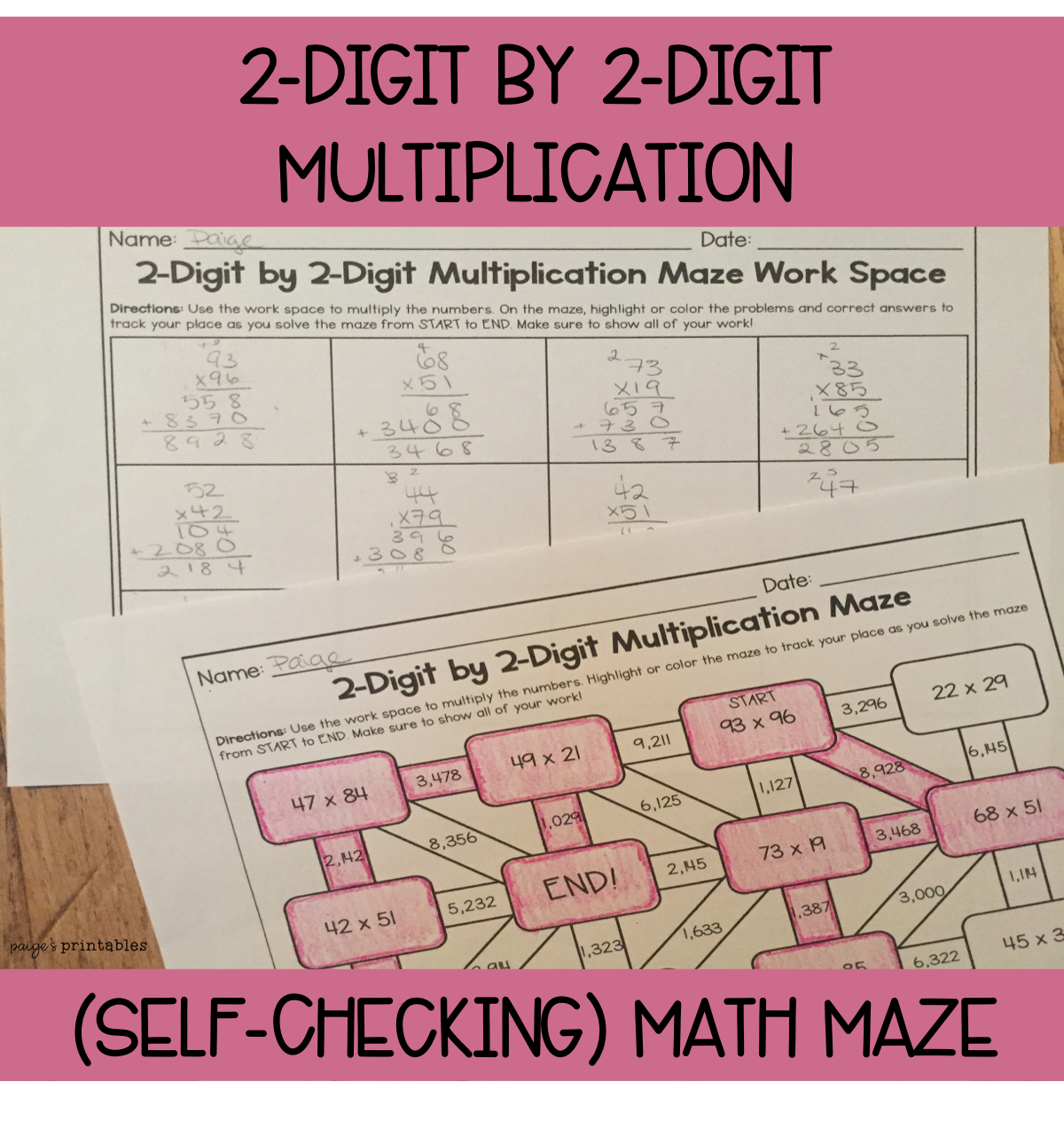 2 Digit By 2 Digit Multiplication Math Maze No Prep