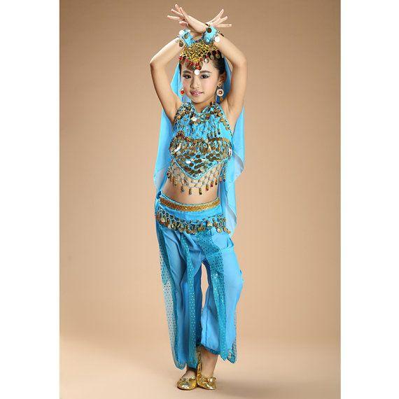 top+pants+waist chain+veil Hot sale kids belly dance 4pcs indian clothes girls belly dance costume