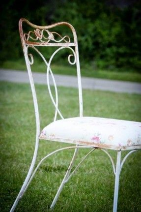 Vintage Wrought Iron Patio Furniture Used As Lounge Area At Wedding Reception