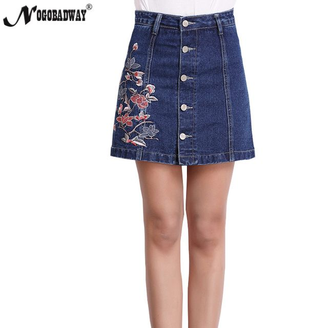 b9c578b2fb9 Plus Size High Waist Denim Skirts Womens NEW Summer Embroidered Short Jeans  Skirt Hot Ladies Casual Mini Skirt buttons autumn