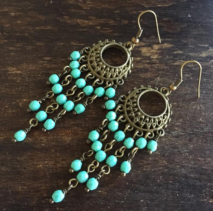 Fancy Filigree Boho Antique Gold And Turquoise Czech Gl Bead Earrings