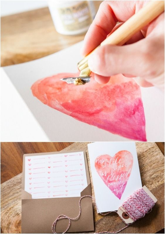 Diy Valentine Gifts Part - 30: Last Minute Valentineu0027s Gifts: Truly Gorgeous DIY Valentineu0027s Card Made  With Watercolor And Basic Calligraphy