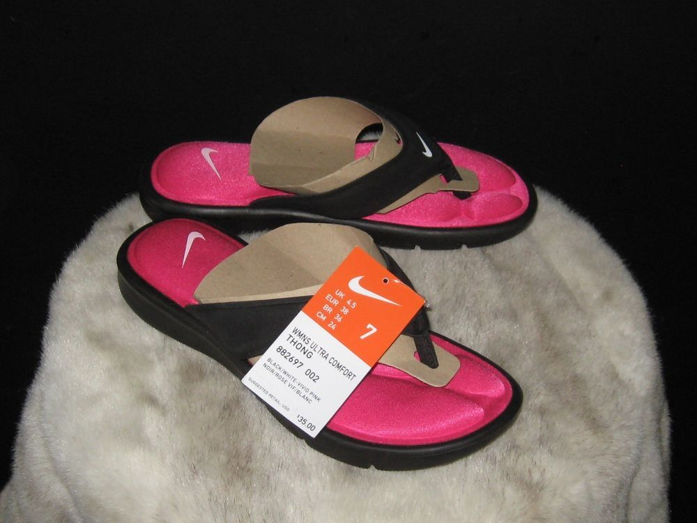 b0090ee0390 Nike Women s Ultra Comfort Thong Sandals Flip-Flops Sz 7 Pink Black 882697  002  Nike  FlipFlops  Outdoor  sandals