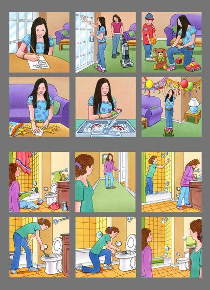 Poster De Quehaceres Present Progressive Quehaceres Rutina Diaria De Ninos Verbos Reflexivos