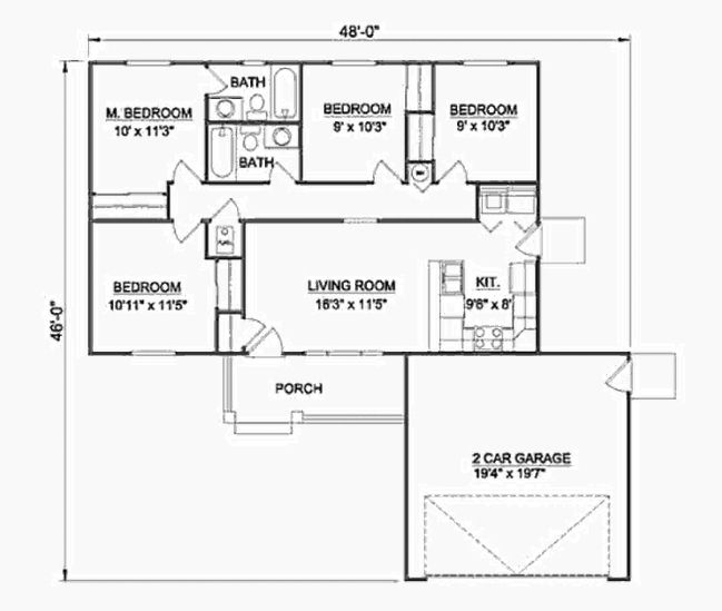 Casa De 4 Dormitorios Y 2 Banos En 97m2 Planos Gratis Ranch Style House Plans House Plans How To Plan