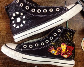 Hand Painted Ironman Converse All Star Shoes   Marvel shoes