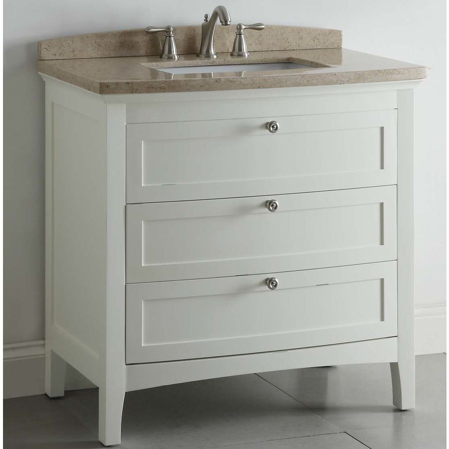 Shop Allen Roth Windleton 36 In X 22 In White Single Sink Bathroom Vanity With Natural Marb White Vanity Bathroom Bathroom Vanity Single Sink Bathroom Vanity