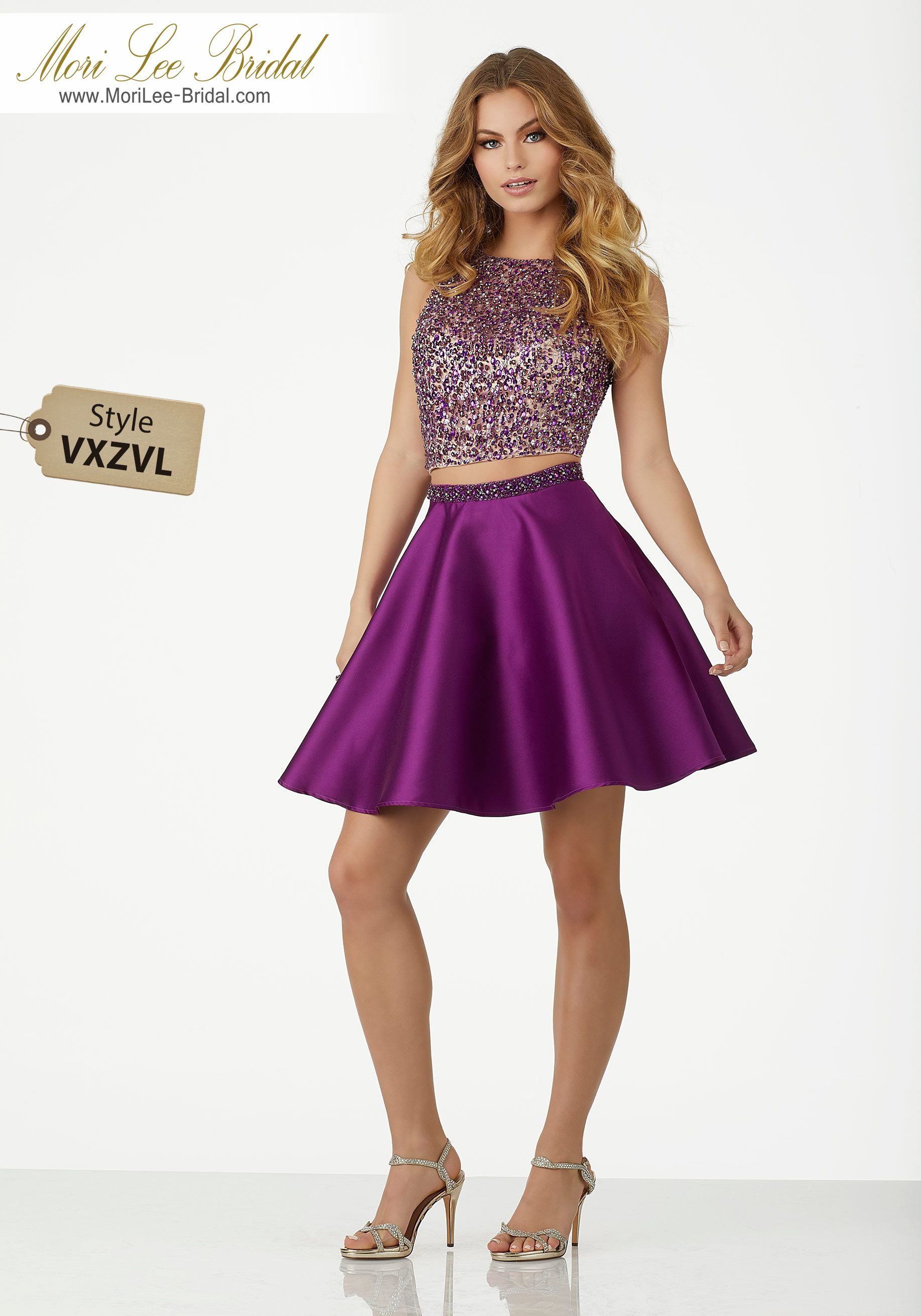 Style VXZVLTwo Piece Party Dress Featuring a Fully Beaded Net Top ...