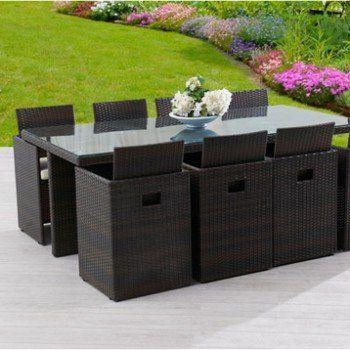 Salon de jardin Encastrable résine tressée marron 1 table + 8 ...