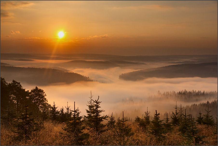 sonnenuntergang mit nebel und - photo #14