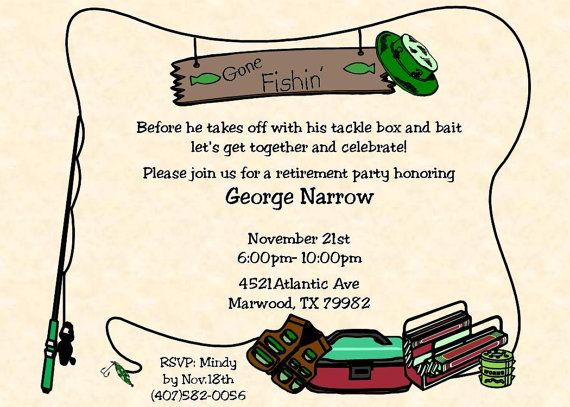 Fishing Retirement Party Invitations-530 | Retirement, Retirement