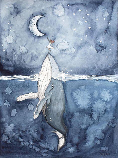 Photo of Buckelwal-Druck, Monddruck, Deichwanddekoration, Whale Art, Whale Nursery, Mädchenmalerei, gerahmtes Dekor, Walmalerei, Ozeanwandkunst