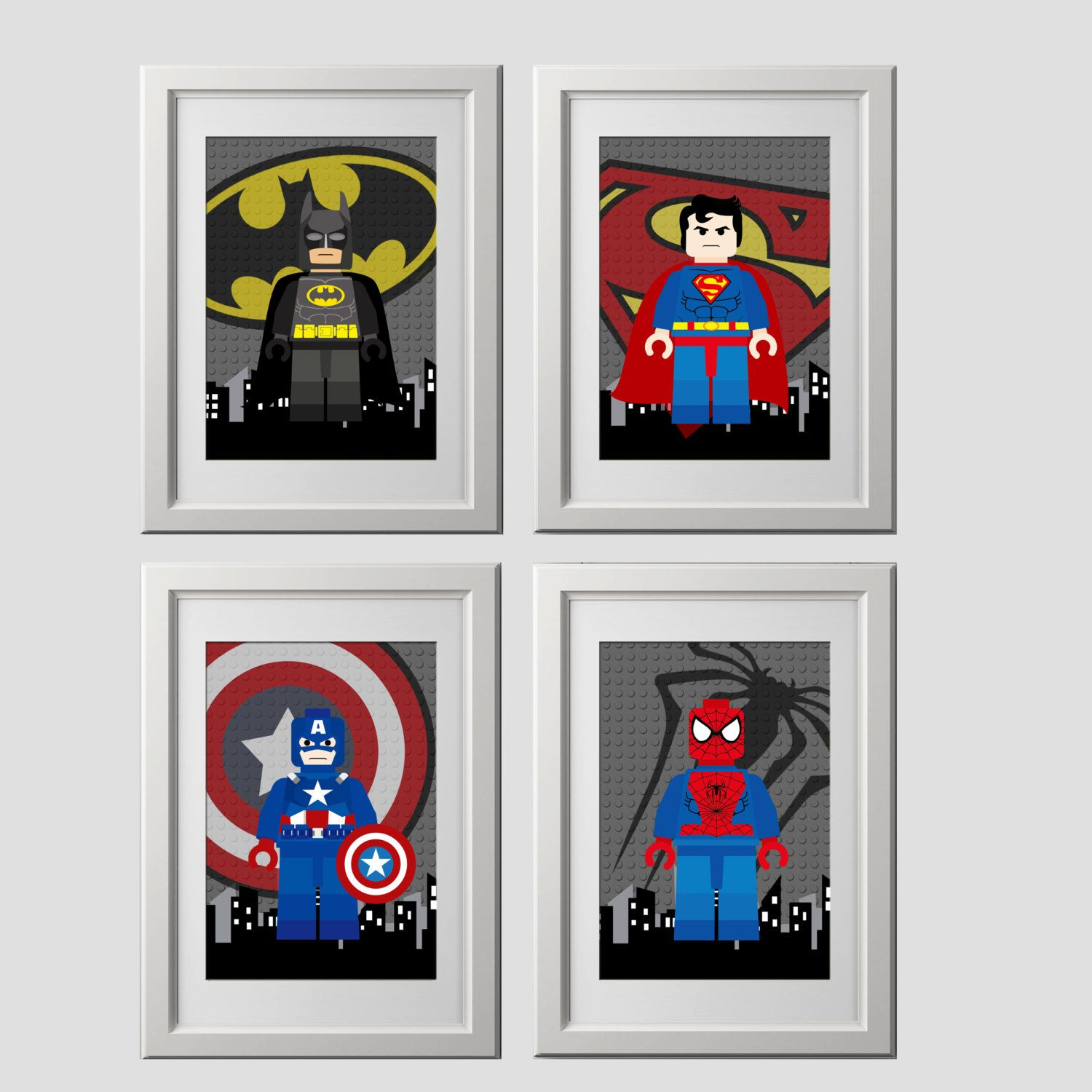 Lego Superhero Wall Art Prints Batman By AmysDesignShoppe On Etsy - Lego superhero wall decals