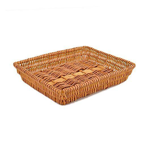 RURALITY Rectangular Wicker Storage Basket for Home, Shops or Markets