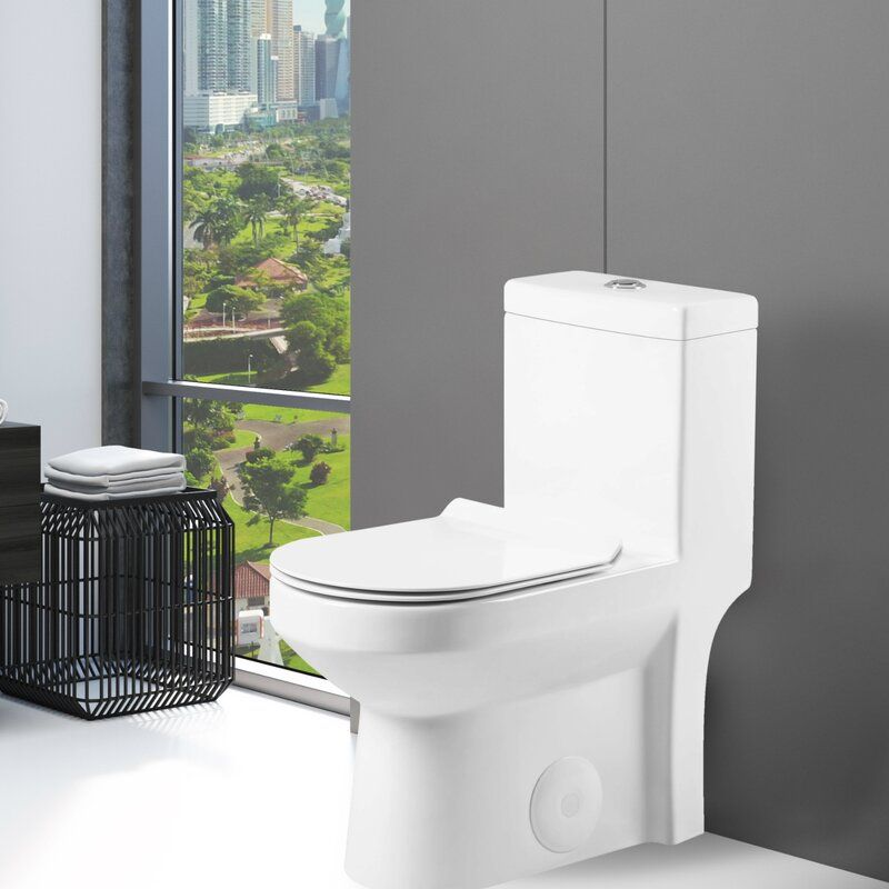 Dual Flush Round One Piece Toilet Seat Included In 2020 One Piece Toilets Toilet Design Elongated Toilet Seat