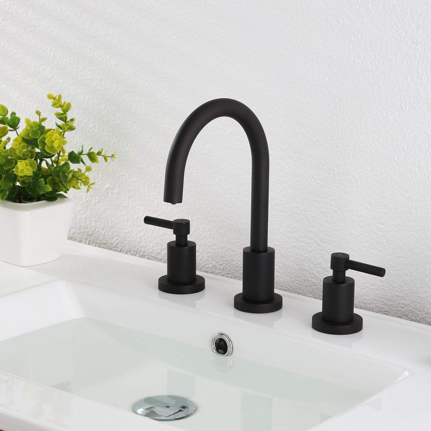 Bathroom Basin Sink Faucet 3 Holes Two Handles Deck Mount Vessel Mixer Taps Matte Black Widespread Bathroom Faucet Black Faucet Bathroom Bathroom Faucets