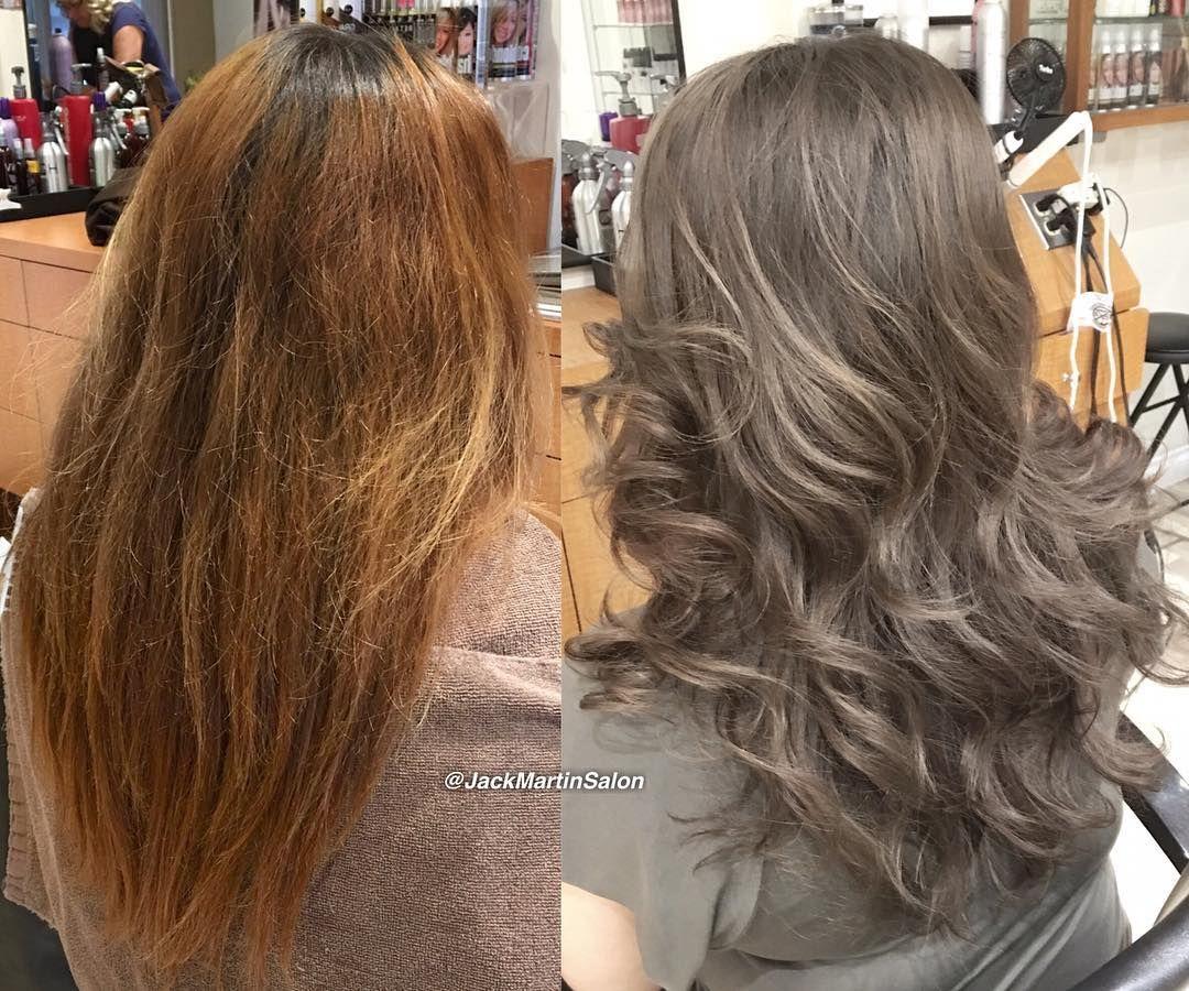 ᒍᗩᑕk ᗰᗩᖇtiᑎ On Instagram Extreme Color Correction From Orange Brassy To Natural Ashy Dark Blonde U Hair Color Formulas Tone Orange Hair Orange To Blonde Hair