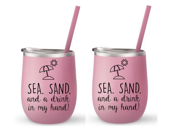 Beach Cup Bev To Go Insulated With Straw Hot And Cold Wine Sun Sand Drink