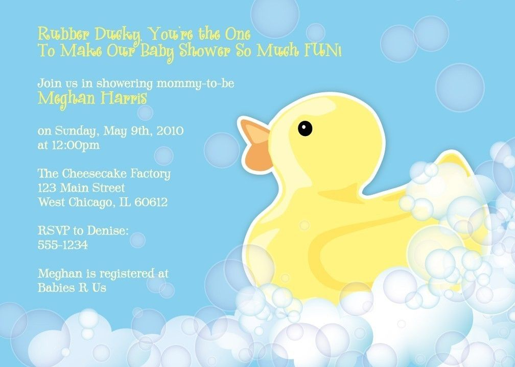 Rubber Duckie Baby Shower Invitation Printable by Whirlibird - baby shower invitation backgrounds free