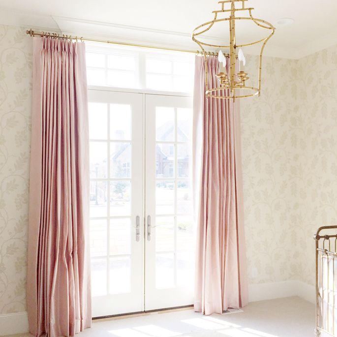 Pink Silk Curtains Nursery