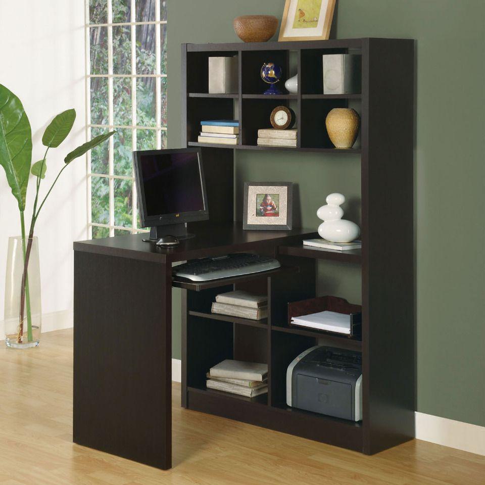 Desk under window ideas  monarch   sleek left or right facing corner desk in cappuccino