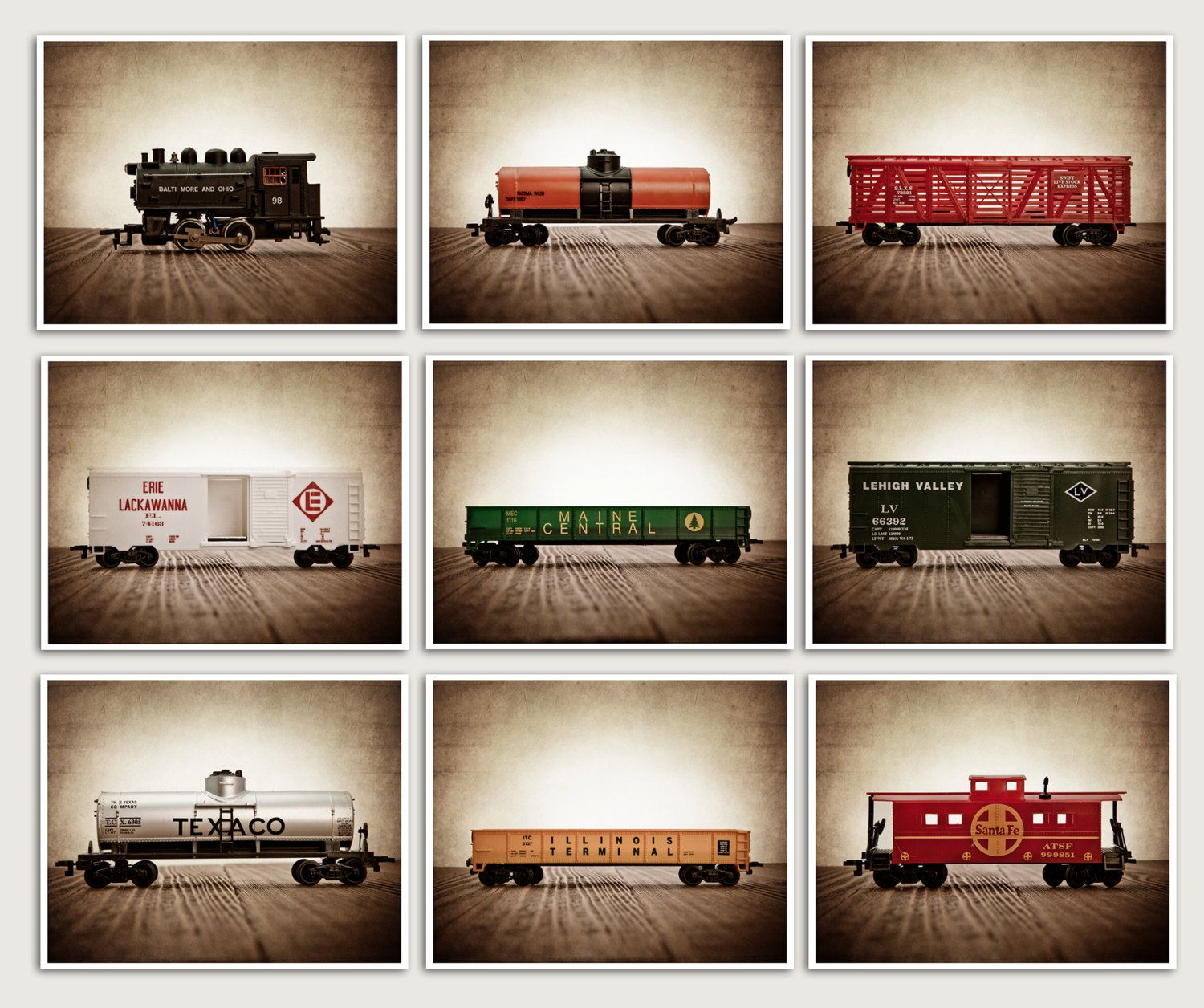On sale vintage toy train prints set of nine x prints nursery